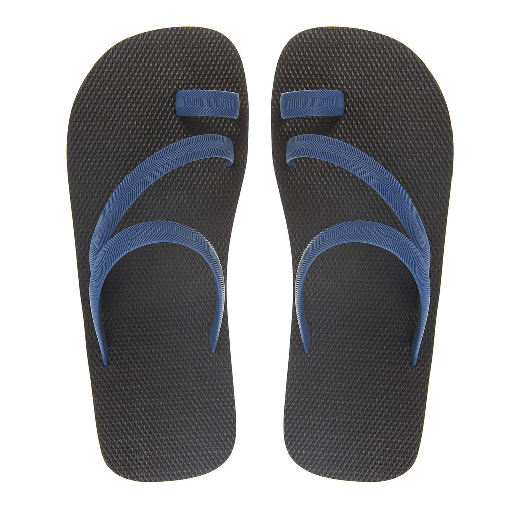 Bicolored flip-flop with asymmetric caged upper,  black with indigo