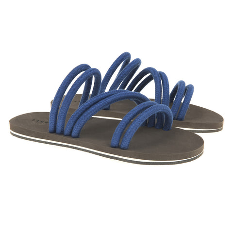 Multi strap linen cord sandal with bicolor micro sole