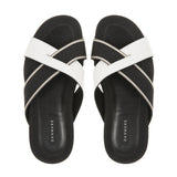 Leather / nylon webbing beach slide with rubber shark tooth bottom