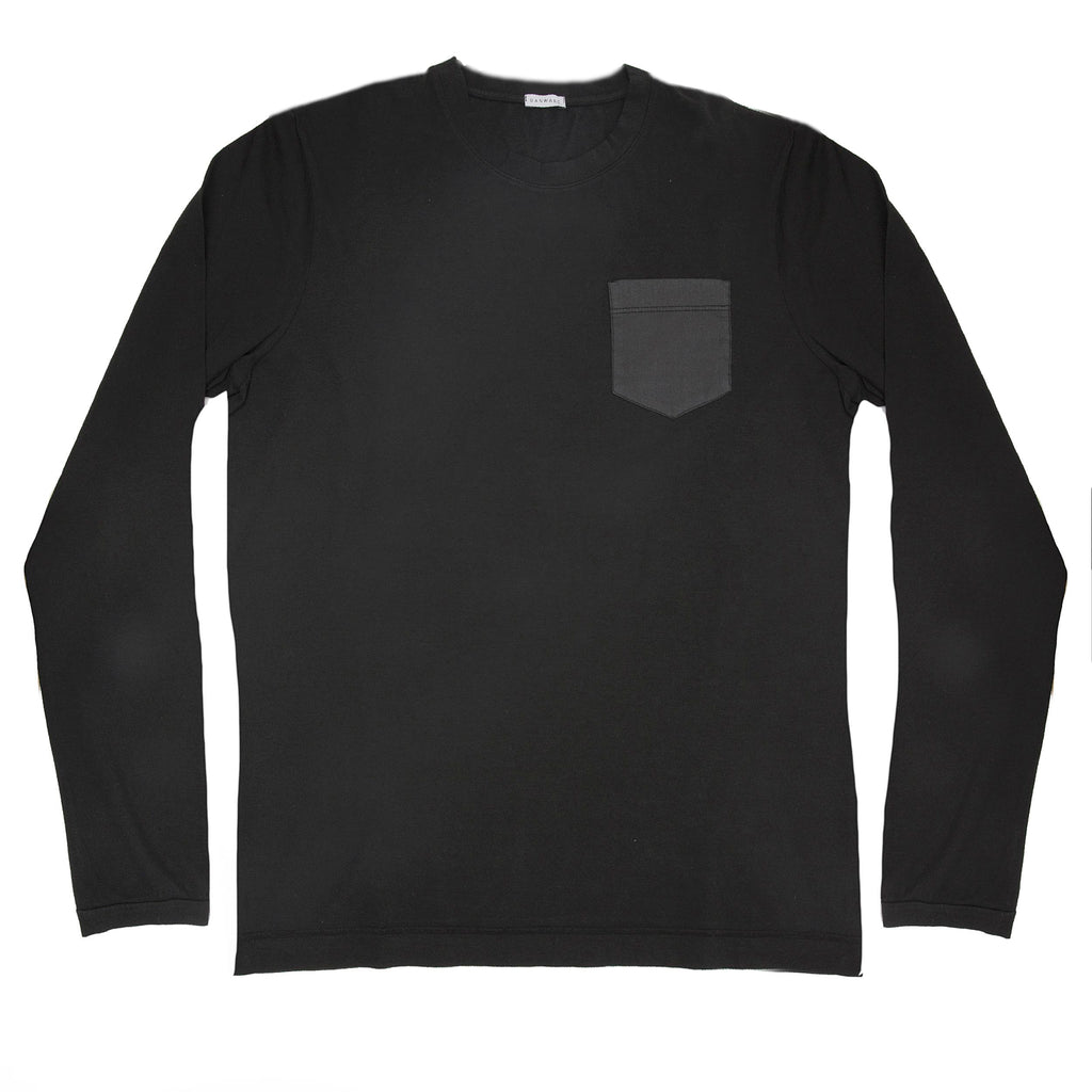 Cotton jersey-popeline garment dyed long sleeve crew neck t-shirt