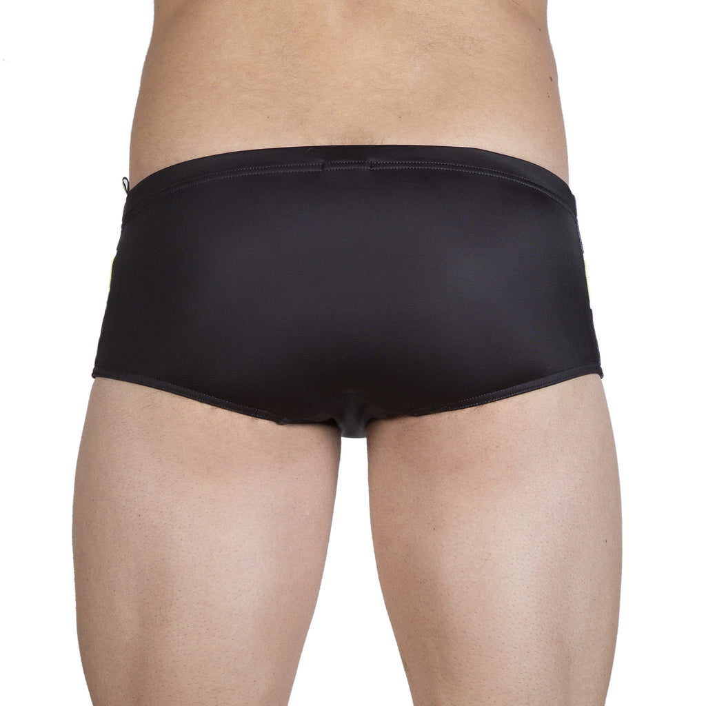 Square leg brief with stripe print