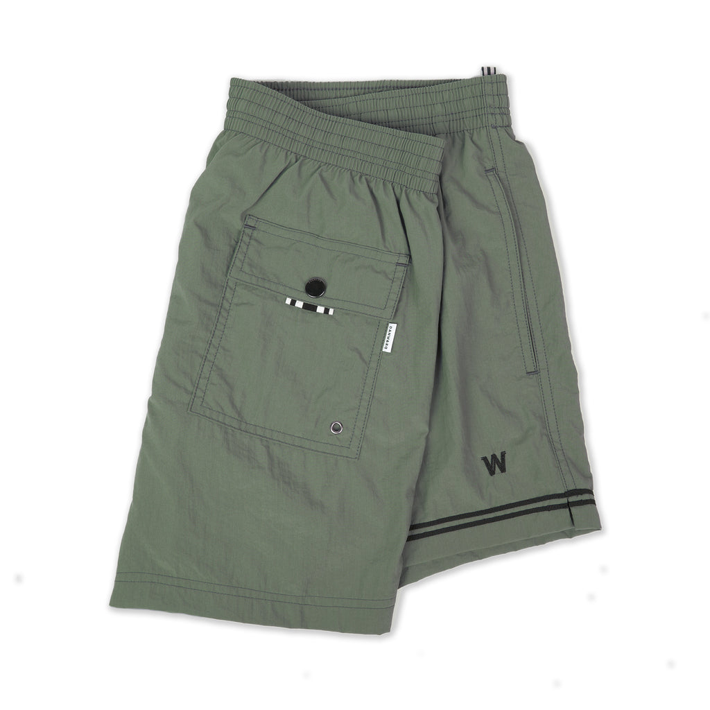 Lightweight nylon elasticated trunk with embroidered W logo and asymmetrical webbing detail