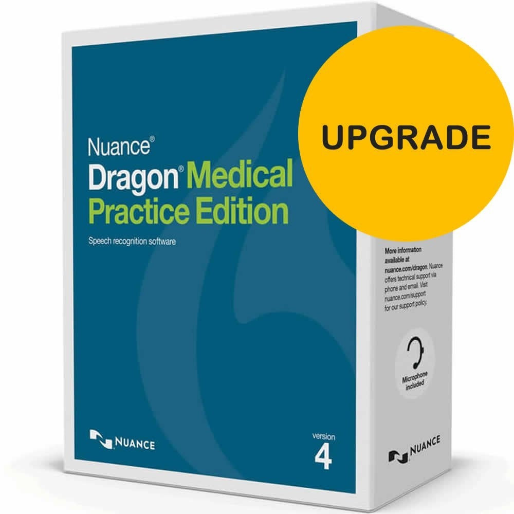 Dragon Medical Practice Edition 4 Upgrade from DMPE v2 or newer.
