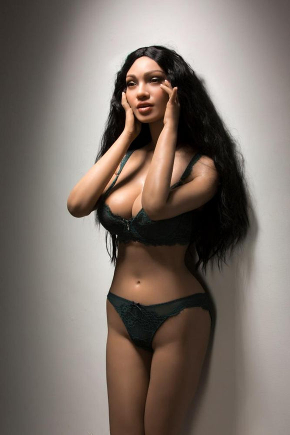 161CM(5ft3') Black Skin Curly Hair Sex Doll S7 Yolanda - Open Eyes