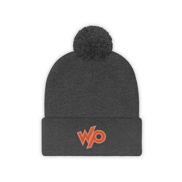 Warrior Princess Pom Pom Beanie Hat - Peach/Red Logo