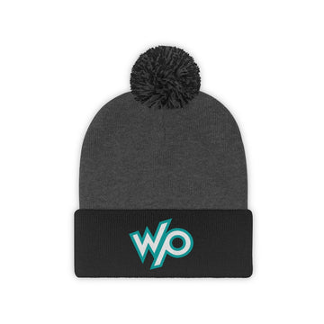 Warrior Princess Pom Pom Beanie Hat - Turquoise Logo