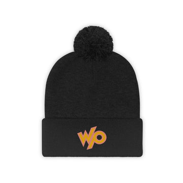 Warrior Princess Pom Pom Beanie Hat - Peach/Yelllow Logo