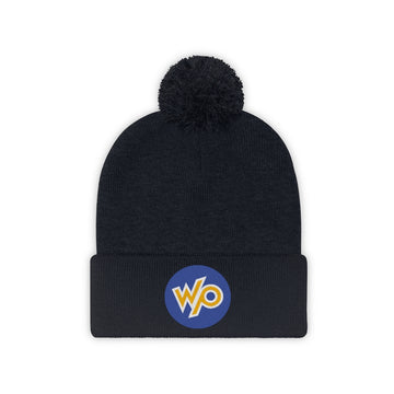 Warrior Princess Pom Pom Beanie Hat - Blue Circle Logo
