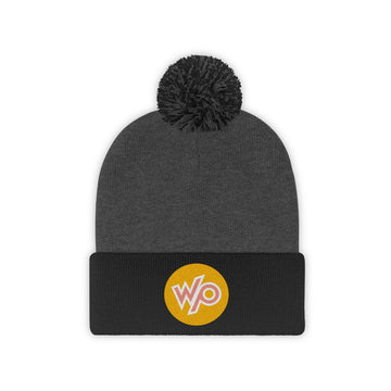 Warrior Princess Pom Pom Beanie Hat - Peach Circle Logo