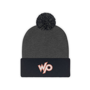 Warrior Princess Pom Pom Beanie Hat - Peach/White Logo
