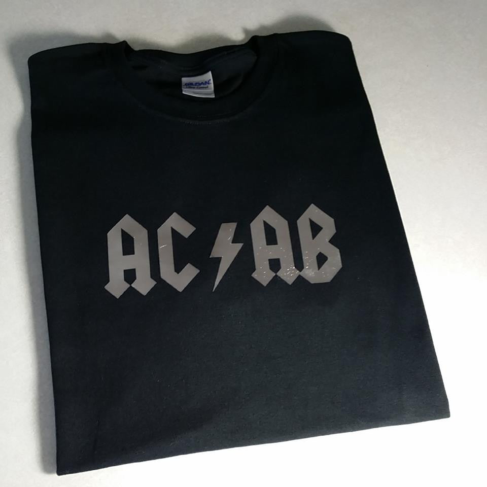 ACAB All Cops Are Bastards Silver AC/DC Logo A.C.A.B. T-shirt