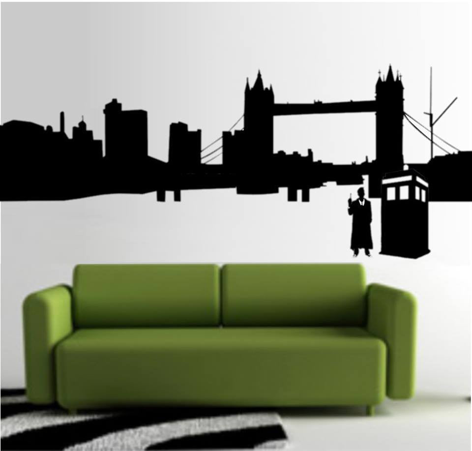 "Doctor Who City Outline Whovian - 23"" Die Cut Vinyl Wall Decal Sticker"