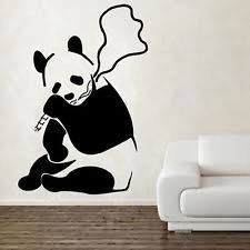 "Banksy Street Art Smoking Panda - 23"" Die Cut Vinyl Wall Decal Sticker"