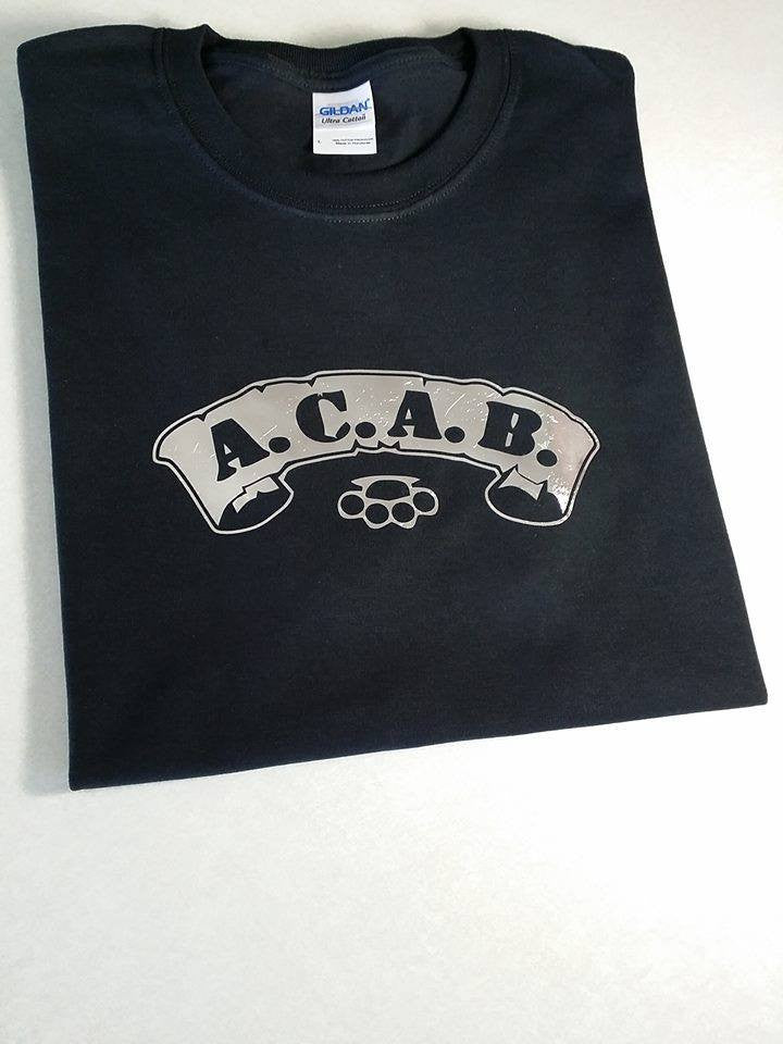 ACAB Silver Scroll with Bass Knuckles A.C.A.B. T-shirt