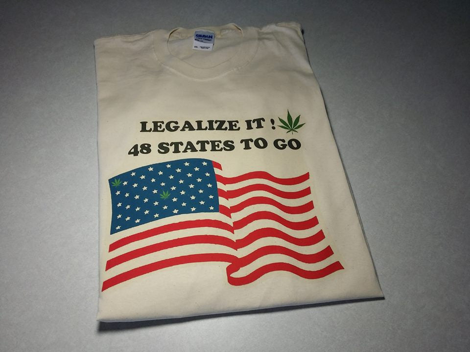 Legalize IT! 48 States to Go - American Flag Weed Smokers Marijuana T-shirt