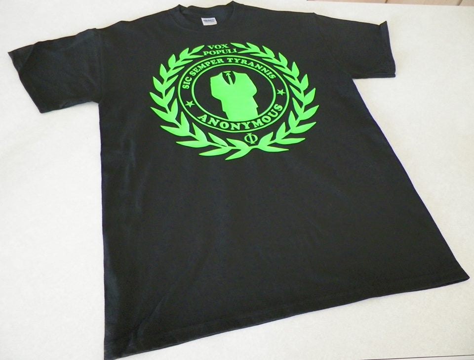 Anonymous Neon Green Vox Populi Sic Semper Tyrannis T-shirt