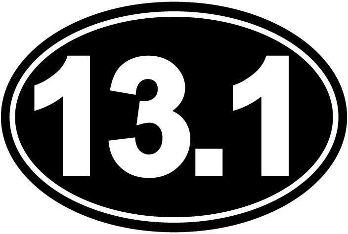 13.1 miles, half marathon - Die Cut Vinyl Sticker Decal