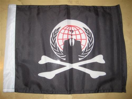 Anonymous Pirate  Crossbones Hand Flag 15×12″