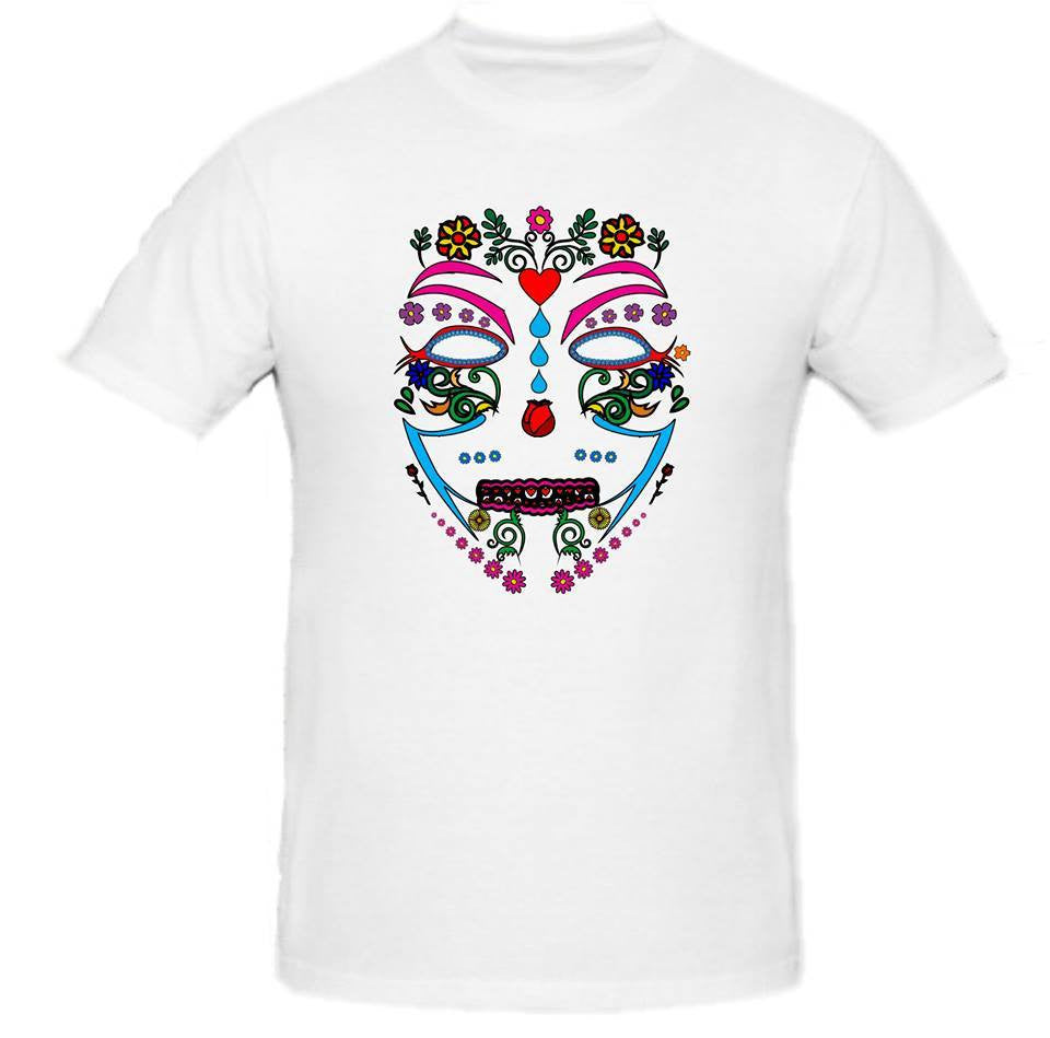 Day of the Dead Anonymous Anonymiss White Mask T-shirt | Blasted Rat