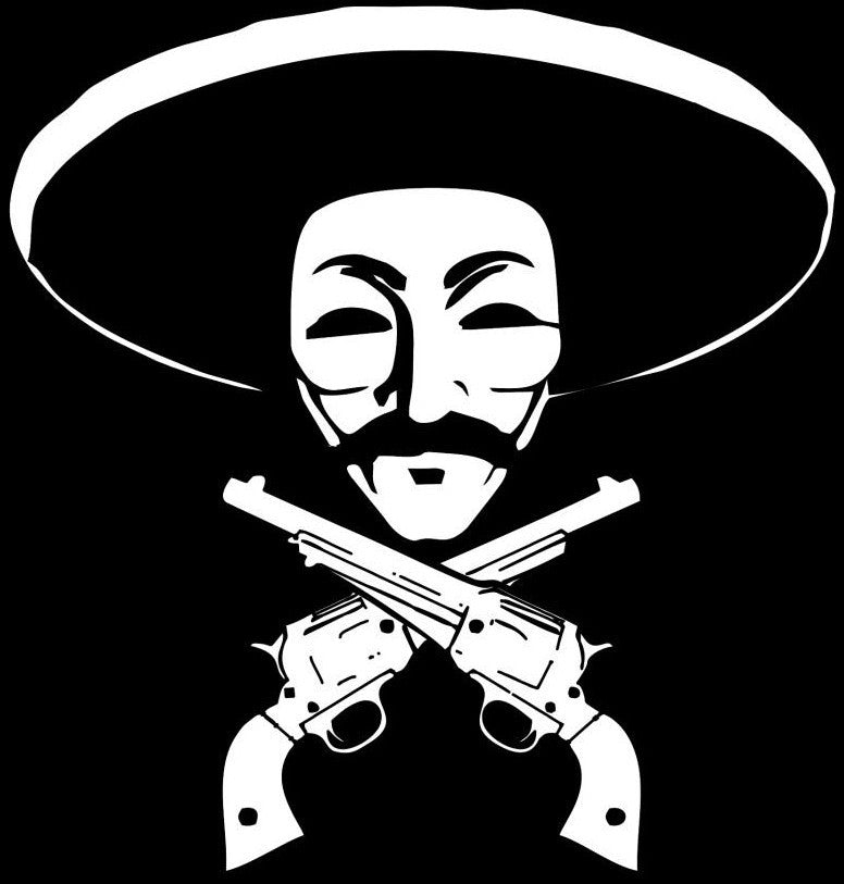 Anonymous Sombrero with Pistols Die Cut Vinyl Sticker Decal