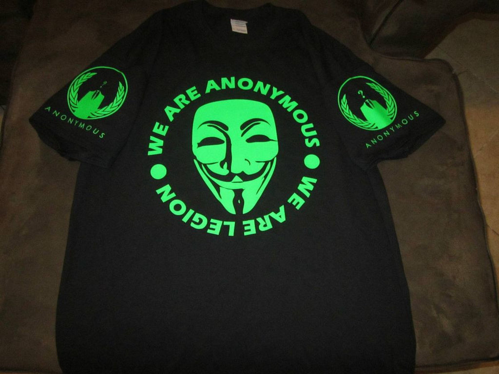 Anonymous We Are Legion Neon Sleeve Logos T-shirt | Blasted Rat