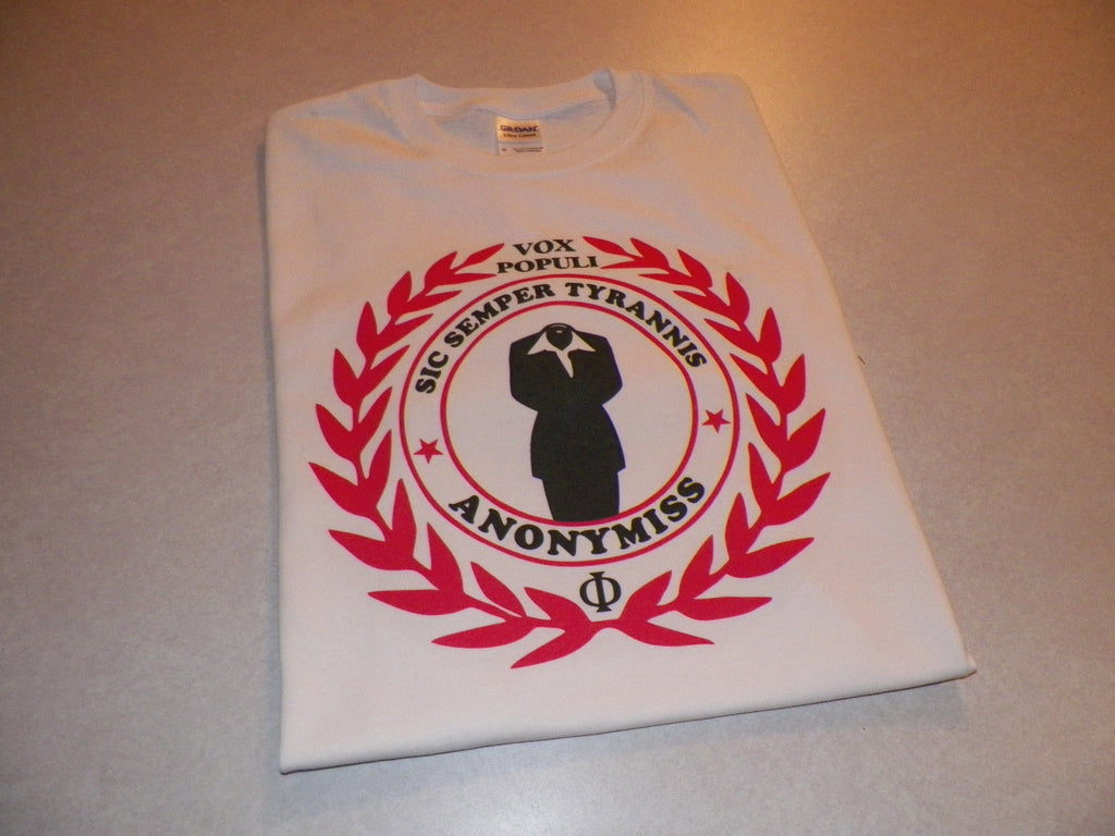 Anonymous Crest Vox Populi Sic Semper Tyrannis Anonymiss T-shirt