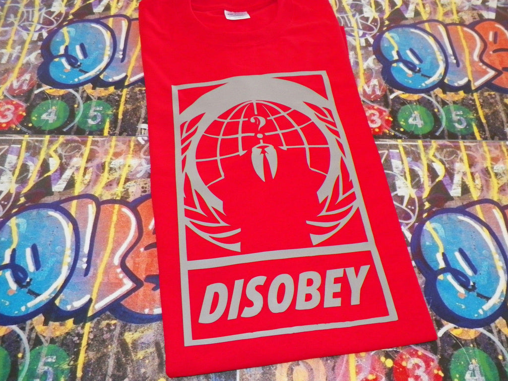 Anonymous Crest DISOBEY with Guy Fawkes Mask T-shirt