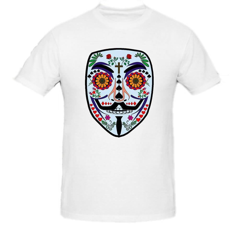 Day of the Dead Anonymous Blue Mask T-shirt | Blasted Rat