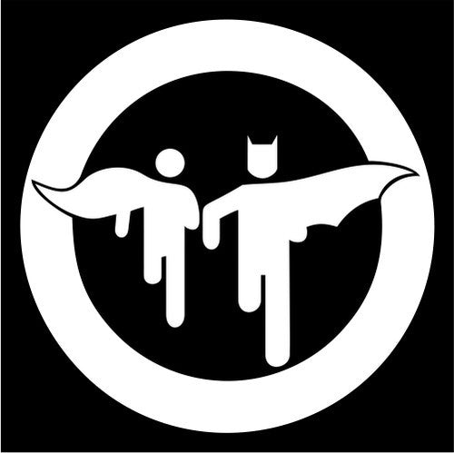 Batman and Robin caution sign - Die Cut Vinyl Sticker Decal