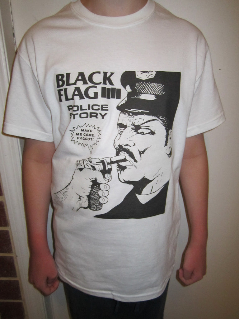 Black Flag Police Story Punk Rock T-shirt