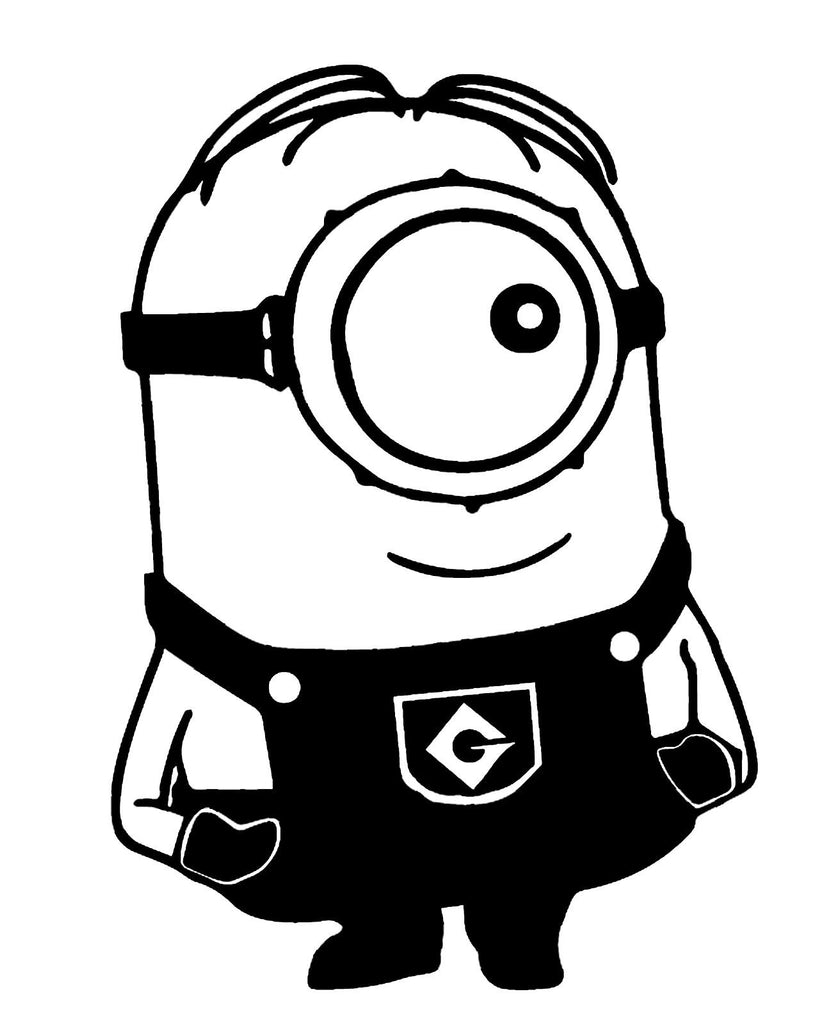 Despicable Me Sideways Glance One Eyed Minion  - Die Cut Vinyl Sticker Decal
