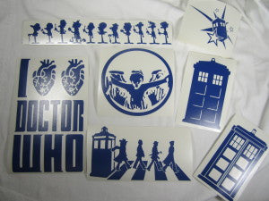 Doctor Who Decals lot x6 | Die Cut Vinyl Sticker Decal | Blasted Rat