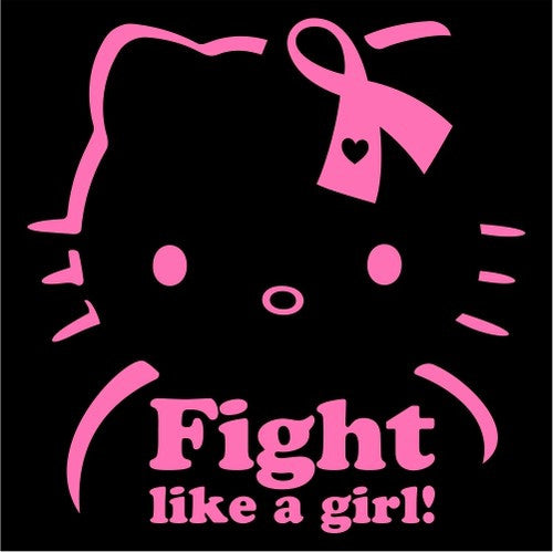 Hello Kitty Breast Cancer Fight Like A Girl Die Cut