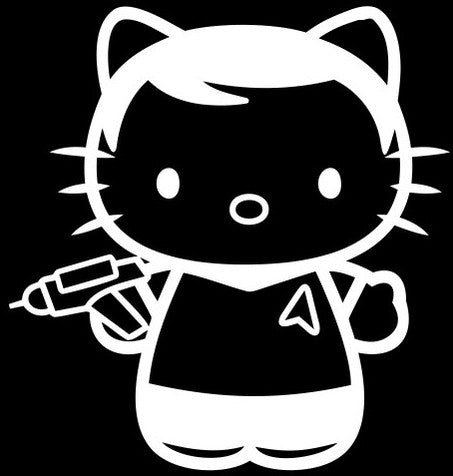 Hello Kitty Captain Kirk Star Trek - Die Cut Vinyl Sticker Decal