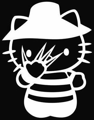 Hello Kitty Freddy Kruger Nightmare On Elm Street - Die Cut Vinyl Sticker Decal