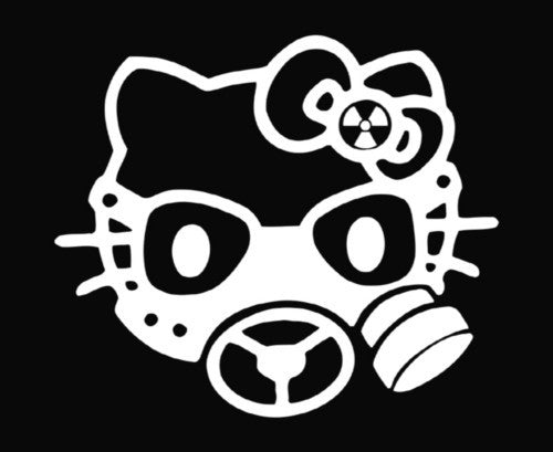 Hello Kitty Gas Mask - Die Cut Vinyl Sticker Decal