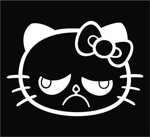 Hello Kitty Hell No Grumpy Cat - Die Cut Vinyl Sticker Decal