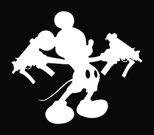 Mickey Mouse With Uzi Guns Die Cut Vinyl Sticker Decal