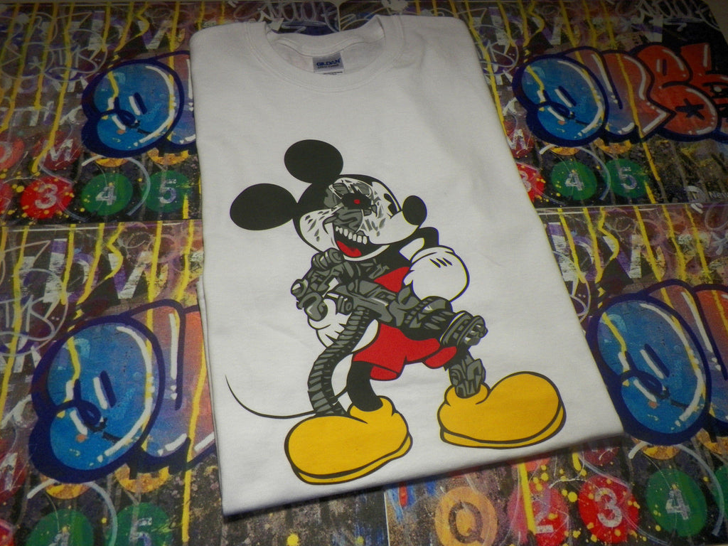 Mickey Mouse Cyborg with Mini Gun T-shirt