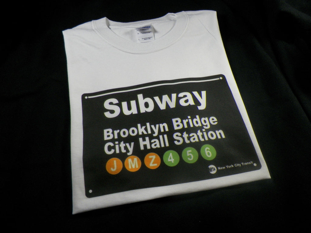 NYC Subway Sign Brooklyn Bridge City Hall Station T-shirt