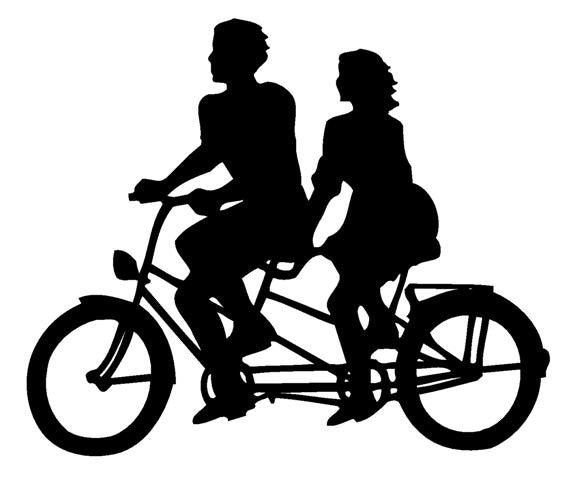 Tandem Bicycle Couple | Die Cut Vinyl Sticker Decal Sticker | Blasted