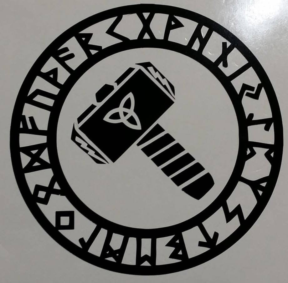 Viking Thors Hammer Triquetra Runes | Die Cut Vinyl Sticker Decal