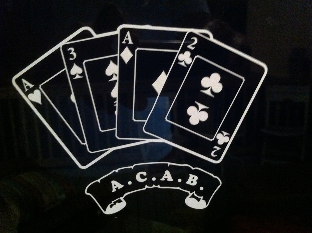 A.C.A.B. Scroll with Playing Cards - Die Cut Vinyl Sticker Decal
