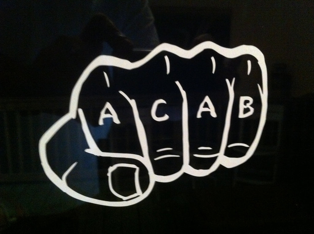A.C.A.B Knuckles Fist Bump Die Cut Vinyl Sticker Decal