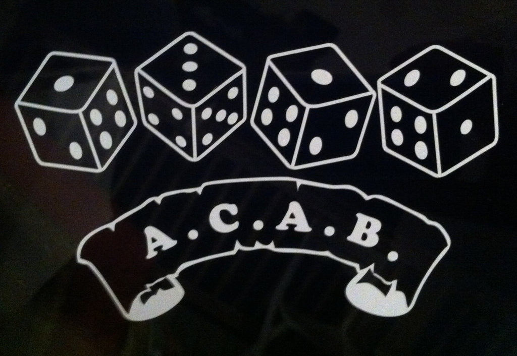 A.C.A.B. Scroll with Dice - Die Cut Vinyl Sticker Decal