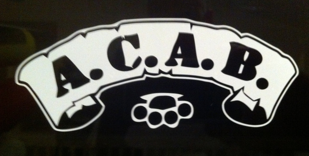 A.C.A.B. Scroll with Brass Knuckles - Die Cut Vinyl Sticker Decal