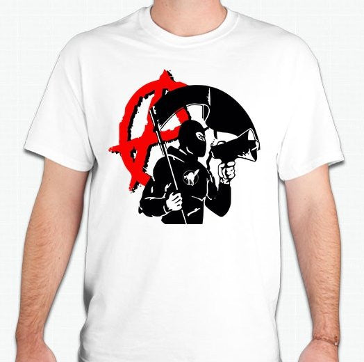 Anarchist Masked With Black Flag Megaphone T-shirt | Blasted Rat