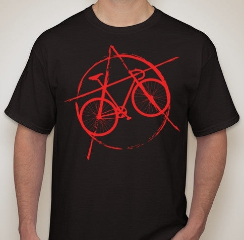 Anarchist Cyclist Racing Bike T-shirt | Blasted Rat