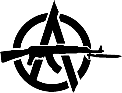 Anarchy logo with ak47 die cut vinyl sticker decal blasted rat