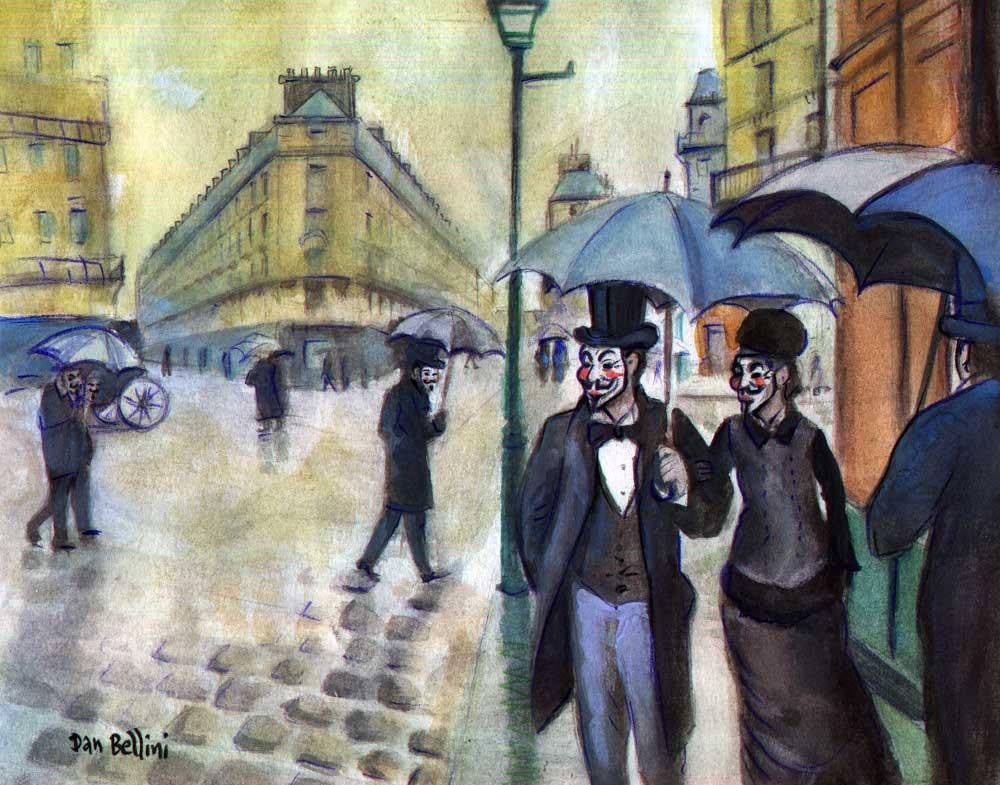 Anonymous Paris Street Rainy Day Gustave Caillebotte | Dan Bellini Occupy Art Print | Blasted Rat